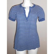 Cherokee! Blusa Azul Marino Con Rayas Blancas, Talla G