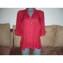 Hermosa Blusa Roja Acinturada Tela,lino Importada Talla 40