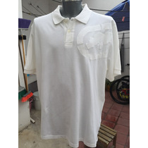 Playera Tipo Polo Ecko Tallas Extra 2xl 50/52 Bordada Blanca