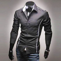 Camisas Vestir Hombre, Camisa Caballero Manga Larga Slim Fit