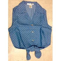 Forever 21 Top Blusa Camisa Lunares Casual Ajuste Cintura.
