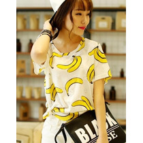 Blusa Casual Bananas Platanos Ropa Mujer Moda Japonesa