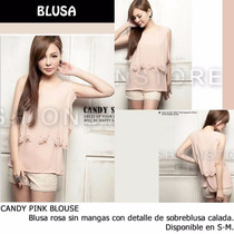 *fashionstore* Candy Pink Blouse. Blusa Rosa Calada Casual.