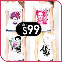Blusas Estampados Frida Y De Moda, Palyeras Impresas Mayoreo