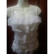 Bonita Blusa Blanca Con Olanes