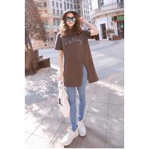 Suku 12466 Camiseta Corte Largo Moda Japón $489