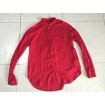 Camisa Roja Vestir Bershka S Corta Y Larga Boton Negro Causa