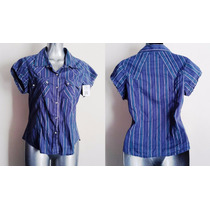 Blusa Fresca Abierta Juvenil Mujer Azul Con Morado Rayas M
