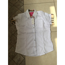 Camisa Vestir Blanca Dama Con Grabado Escocés Estilo Bebe M