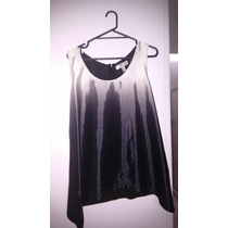 Blusa Negra Con Blanco Asimétrica Talla L