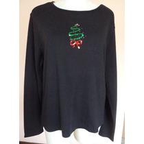 Navidad Blusa Negra Con Árbol Navideño Talla Xl Clave Na13