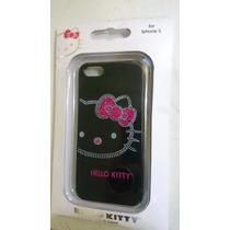 Funda Hello Kitty Negra C/piedritas Rosas Iphone 5
