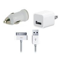 Kit 3 En 1 Ipod Iphone Cargador Casa + Cable + Cargador Auto