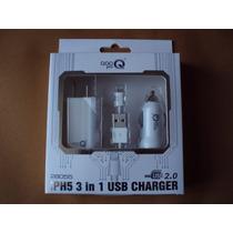 Cargador Iphone 5 De Pared De Auto Y Usb 3 En 1