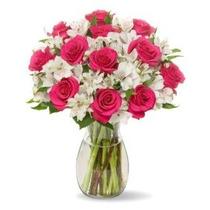 Firma De Tallo Largo Rose Alstro Bouquet - Con Jarrón