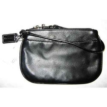 Cartera Coach Leather Small Wristlet - Black #