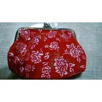 Monedero De Terciopelo Con Estampado De Flores Rojo Vbf