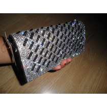Nueva Cartera Clutch Negra Plateada Brillosa Bolsa-bolso