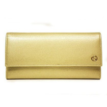 Cartera Gucci Leather Continental W/interlocking G Gold P