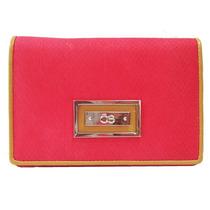 Billetera Cloe Roja Con Textura De Cocodrilo