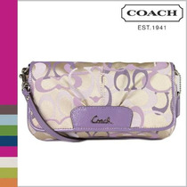 Coach Signature Sateen Optic Large Flap Wristlet