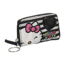 Mini Monedero Hello Kitty Blanco Y Negro Corazón Y Rayas 66