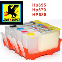 Cartuchos Recargables Compatibles Hp670 Con Chip Reseteable