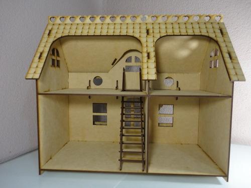 Casa con veranda casa de mu ecas hecha en madera mdf for Casa con veranda