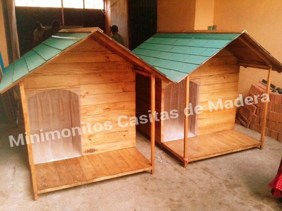 Casa para perro de madera residencial con terraza d lujo - Madera para casa ...