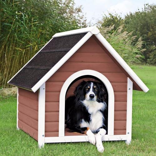 Casa para perros medianos y grandes de madera 1 for Puertas perros medianos