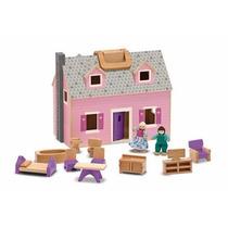 Casa De Muñecas Plegable Portatil De Madera Con Muebles