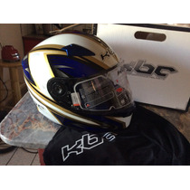 Casco De Moto Kbc Vr Azul Con Blanco Nuevo S Chico