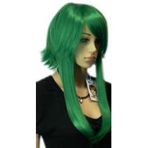 Cosplay Verde Qiyun Corto Largo Liso Brillante Peluca De Pel