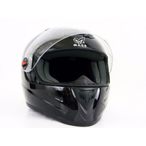 Casco Para Motociclista/visera Abatible Negro Gloss- 130220