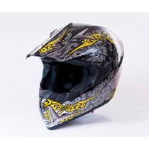 Casco Motocross Skull Calavera Top Dot Snell Ece Negro