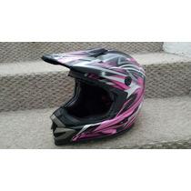Casco Zox Negro Con Rosa De Mujer Para Moto - Envio Gratis!!
