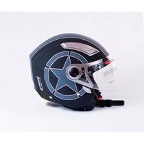 Casco Moto 3/4 Doble Visor Con Lente Y Polarizado Interno