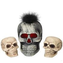 Hallowenn Skelton Skulls 3 Pc Set. 1 Con Luces Led. Realista