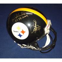 Casco Autografiado Cortina De Acero Pittsburgh Steelers Nfl