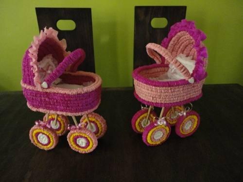 Centros De Mesa Carreola Crepe Para Baby Shower O Bautizo