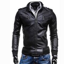 Chamarra Piel Sintética Rockera Hombre Motociclista Slim Fit