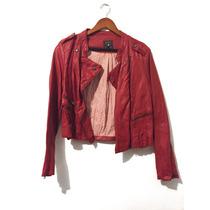 Chaqueta De Piel Color Rojo