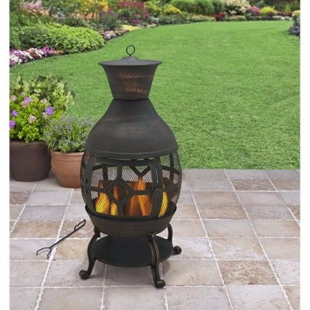 Chimenea para jardines y patios modernista de hierro - Chimeneas para jardin ...