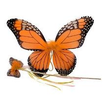 Naranja Mariposa Monarca Wing & Varita Set