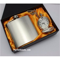 Licorera 6oz Grabada En Estuche Con Reloj De Bolsillo