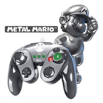 Wii U Wired Fight Pad Metal Mario Especial Control Nintendo