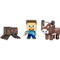Minecraft Coleccionables Figuras Araña Steve & Cow 3-pack Se