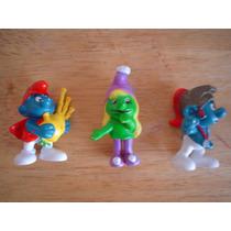 3 Figuras De Los Pitufos Vintage 1978 Peyo Scheich Mide 6 Cm