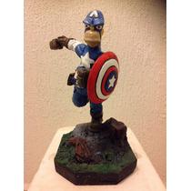 Homero Simpson Versión Capitán America Figura De Colección
