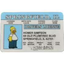 Homer Simpson Identificación De Licencia De Conducir